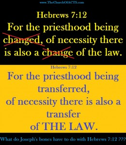 Hebrews 7:12  THE LAW Did Not Change!