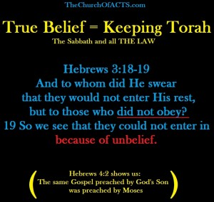Hebrews3and4TrueBeliefEqualsKeepingTorah A