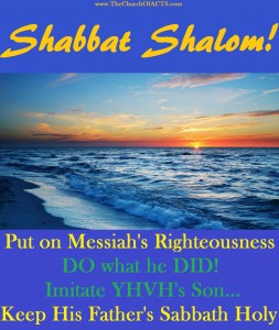 Shabbat Shalom!  Imitate TORAH In Messiah