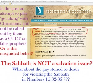 Sabbath NOT Salvation Issue?  False Prophets Part 1